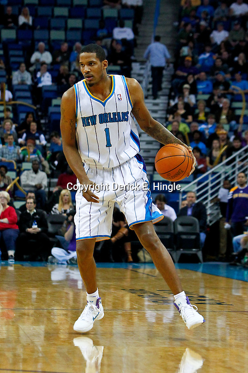 February 6, 2012; New Orleans, LA, USA; New Orleans Hornets small forward Trevor Ariza (1) against the Sacramento Kings during the first quarter of a game at the New Orleans Arena.   Mandatory Credit: Derick E. Hingle-US PRESSWIRE