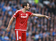 Middlesbrough FC striker Enrique Garcia Kike during the Sky Bet Championship match between Brighton and Hove Albion and Middlesbrough at the American Express Community Stadium, Brighton and Hove, England on 19 December 2015. Photo by Bennett Dean.