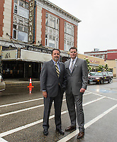 Mayor Ed Engler and Randy Eifert Vice Chair of the Belknap Economic Development Council / BEDC on Main Street following the press conference announcing the purchase of the Colonial Theater in downtown Laconia.  (Karen Bobotas/for the Laconia Daily Sun)