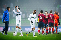 Players after friendly football match between National teams of USA and Slovenia, on November 15, 2011 in SRC Stozice, Ljubljana, Slovenia.  USA won 3:2. (Photo By Matic Klansek Velej / Sportida.com)