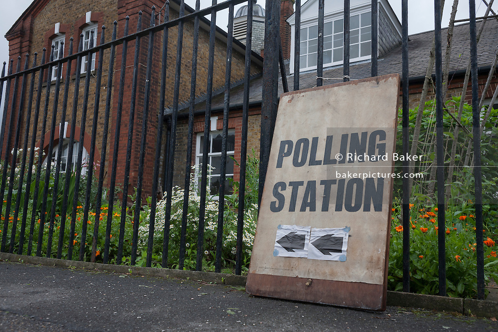On polling day of the UK's EU (European Union) Referendum Day, we see the Polling Station sign outside St. Saviour's church in Herne Hill, Se24, on 23rd June 2016, in south London, United Kingdom.