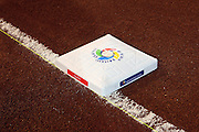 MEXICO CITY - MARCH 10: The first base bag with the World Baseball Classic logo on top lies ready for the Cuba Pool B, game four against Australia in the first round of the 2009 World Baseball Classic at Foro Sol Stadium in Mexico City, Mexico, Tuesday March 10, 2009. Cuba defeated Australia 5-4. (Photo by Paul Spinelli/WBCI/MLB Photos)