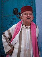 CHEFCHAOUEN, MOROCCO - CIRCA APRIL 2017: Portrait of Moroccan man in the streets of Chefchaouen.