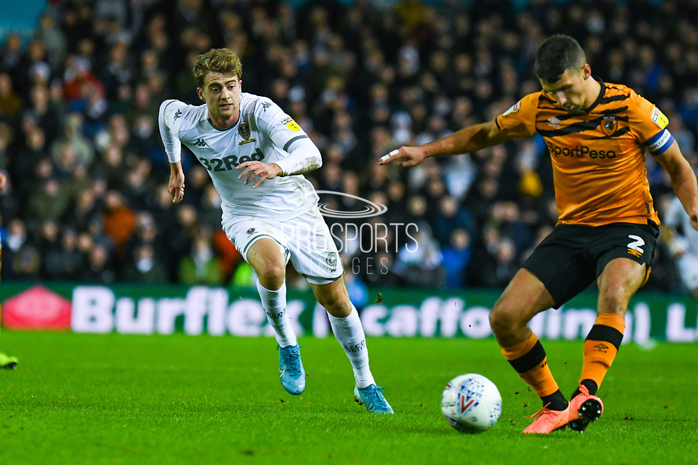 Leeds United forward Patrick Bamford (9) during the EFL Sky Bet Championship match between Leeds United and Hull City at Elland Road, Leeds, England on 10 December 2019.