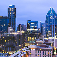 Austin Texas skyline at night panorama picture. Austin, TX is a major city in the Southwestern United States of America. Panoramic photo ratio is 1:3 and was taken in 2016.