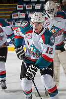 KELOWNA, CANADA - JANUARY 7: Erik Gardiner #12 of the Kelowna Rockets warms up against the Kamloops Blazers on January 7, 2017 at Prospera Place in Kelowna, British Columbia, Canada.  (Photo by Marissa Baecker/Shoot the Breeze)  *** Local Caption ***
