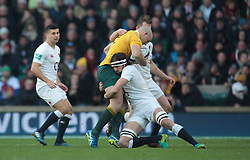 December 4, 2016 - London, England, United Kingdom - Australia's Stephen Moore  gets tackled by England's Tom Wood   during Old Mutual Wealth Series match between England against Australia at Twickenham stadium , London, Britain - 03 December 2016  (Credit Image: © Kieran Galvin/NurPhoto via ZUMA Press)
