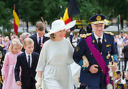 Brussels, 21-07-2015<br /> <br /> King Phillipe and Queen Mathilde and their children attended a church service at the Cathedral of Brussels on the occasion of the Belgium National Day.<br /> <br /> Royalportraits Europe/Bernard Ruebsamen