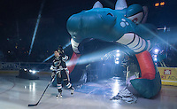 KELOWNA, CANADA - SEPTEMBER 25: Dillon Dube #19 of Kelowna Rockets enters the ice during the season home opener against the Kamloops Blazers on September 25, 2015 at Prospera Place in Kelowna, British Columbia, Canada.  (Photo by Marissa Baecker/Shoot the Breeze)  *** Local Caption *** Dillon Dube;