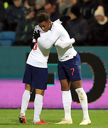 England U21's Demarai Gray (right) celebrates scoring his side's first goal of the game during the international friendly match at the Blue Water Arena, Esbjerg.