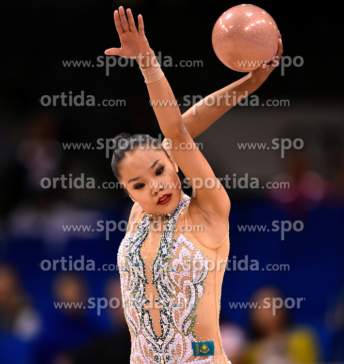 07.09.2015, Porsche Arena, Stuttgart, GER, Gymnastik WM, im Bild Aliya Assymova (KAZ) Ball // during the World Rhythmic Gymnastics Championships at the Porsche Arena in Stuttgart, Germany on 2015/09/07. EXPA Pictures &copy; 2015, PhotoCredit: EXPA/ Eibner-Pressefoto/ Weber<br /> <br /> *****ATTENTION - OUT of GER*****