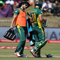Farhaan Behardien of the (South African Proteas) with Faf du Plessis of the (South African Proteas) during the 2nd ODI Momentum One-Day International (ODI) series South African and Sri Lanka at Kingsmead, Durban, South Africa.1st February 2017 - (Photo by Steve Haag)