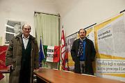 Casale Monferrato, Italy, feb.2010. Bruno Pesce, CGIL e Nicola Pondrano, Inca.