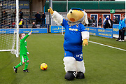 Haydon the Womble celebrating after scoring a goal during training during the EFL Sky Bet League 1 match between AFC Wimbledon and Blackpool at the Cherry Red Records Stadium, Kingston, England on 29 December 2018.