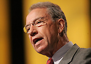 28 August 2007: Senator Chuck Grassley (R-IA) speaks at the opening of the LIVESTRONG Presidential Cancer Forum in Cedar Rapids, Iowa on August 28, 2007.
