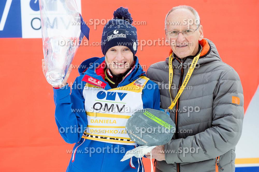 Daniela Iraschko-Stolz (AUT) and Miro Cerar with Fair play award for Daniela during Flower ceremony after the Final Round at Day 1 of World Cup Ski Jumping Ladies Ljubno 2015, on February 14, 2015 in Ljubno, Slovenia. Photo by Vid Ponikvar / Sportida