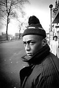 Professor Griff of Public Enemy on the streets of Shepherds Bush, London, UK, 1988