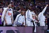 Real Madrid's Felipe Reyes, Dontaye Draper, Othello Hunter and Jaycee Carroll during Semi Finals match of 2017 King's Cup at Fernando Buesa Arena in Vitoria, Spain. February 18, 2017. (ALTERPHOTOS/BorjaB.Hojas)