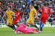 Adam Lallana (11) of England has his shot saved by Mathew Ryan of Australia during the International Friendly match at the Stadium Of Light, Sunderland<br /> Picture by Simon Moore/Focus Images Ltd 07807 671782<br /> 27/05/2016