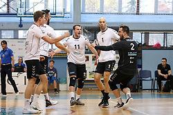 Players of Calcit Volley celebrate during volleyball match between Calcit Volley and Salonit Anhovo in Semifinal of Slovenian League 2017/18, on April 14, 2018 in Sportna Dvorana, Kamnik, Slovenia. Slovenia. Photo by Matic Klansek Velej / Sportida