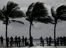 September 2, 2019, Juno Beach, FL, USA: Beach goers in Sexton Plaza watch the waves crash onto Vero Beach as Hurricane Dorian inches closer to Florida's Treasure Coast on Monday, Sept. 2, 2019. (Credit Image: © TNS via ZUMA Wire)