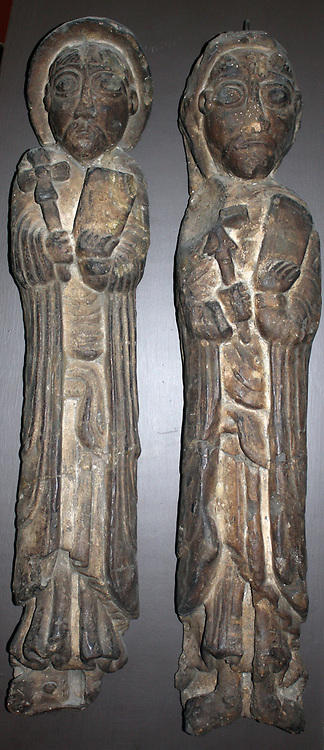 Plaster casts, in stone, of two apostles. Circa 1150 AD. From the Kilpeck in Herefordshire. Found in the Chancel arch in the church of Scythe Mary and Scythe David.