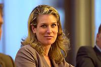 """26 APR 2004, BERLIN/GERMANY:<br /> Dr. Silvana Koch-Mehrin, FDP Spitzenkandidatin zur Europawahl, waehrend einer Podiumsdiskussion, Kongress """"Politik als Marke - Politik zwischen Kommunikation und Inszenierung"""", ein Projekt der Politikfabrik, dbb Forum Berlin<br /> IMAGE: 20040426-02-206"""
