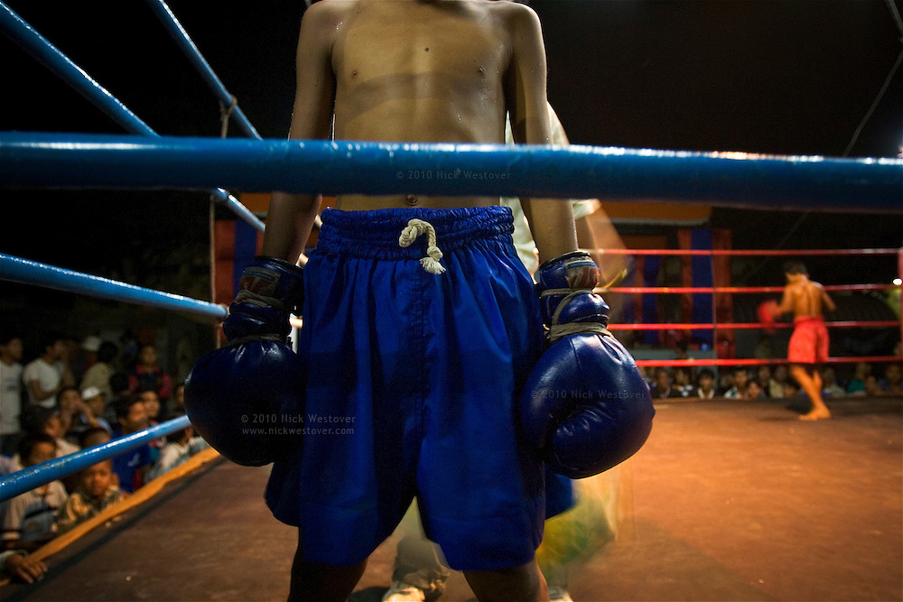 A photograph of young boys before an exhibition boxing match in Poipet, Cambodia.