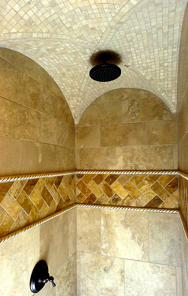 pvcMARTINEZ2/1-25-07/BIZ.  Downstairs shower with a tiled groin ceiling in a Chris Martinez home, photographed Thursday Jan. 25, 2007.  (Pat Vasquez-Cunningham/Journal)