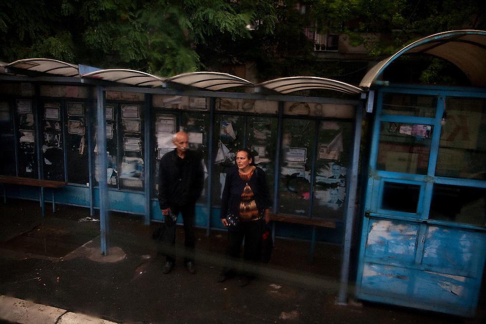 Bus stop in Kosovska Mitrovica..Border crisis, July 2011