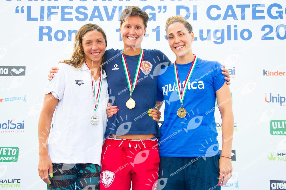 da sx a dx S. Ferrari S. Meschiari R. Figiani<br /> 200m super lifesaver senior<br /> <br /> Campionato Italiano categoria Salvamento Lifesaving 2017<br /> Day 03<br /> Roma, 10-13 luglio 2017<br /> <br /> Piscina Stadio del nuoto Foto Italico, Roma<br /> Italia<br /> &copy;Diego Montano Deepbluemedia/Inside foto