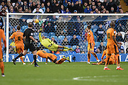 Wolverhampton Wanderers goalkeeper Carl Ikeme lets  in a sot by Daniel Pudil of Sheffield Wednesday to make it 3-1 to sheffield  during the Sky Bet Championship match between Sheffield Wednesday and Wolverhampton Wanderers at Hillsborough, Sheffield, England on 20 December 2015. Photo by Ian Lyall.