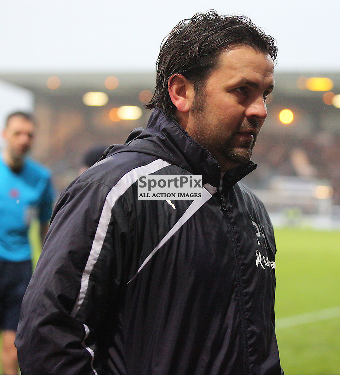 Dundee v Dundee United Scottish Premiership 2 January 2016; a relieved and happy Paul Hartley (Dundee manager) after the Dundee v Dundee United Scottish Premiership match played at Dens Park Stadium;