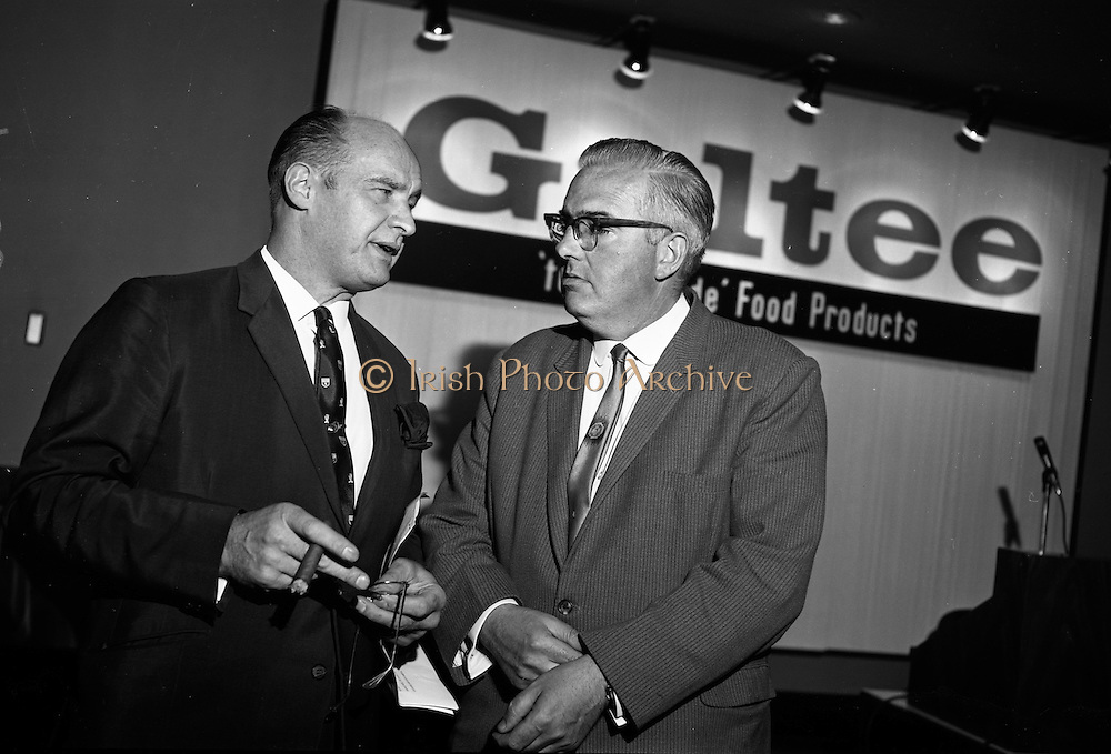 18/07/1967<br /> 07/18/1967<br /> 18 July 1967<br /> Galtee Food Products reception at the Intercontinental Hotel, Dublin. At the reception to launch the new range of 'tender-made' products produced at a new plant in Mitchelstown were (l-r): Mr. M.E. Cussen, General Manager, Galtee 'tender-made' Food Products and Mr. R. Day, General Manager, Pigs and Bacon Commission.