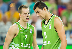 Klemen Prepelic of Slovenia and Jure Balazic of Slovenia during friendly basketball match between National teams of Slovenia and Australia, on August 4, 2015 in Arena Stozice, Ljubljana, Slovenia. Photo by Vid Ponikvar / Sportida