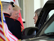 January 27, 2017 - Washington, District of Columbia, United States of America -<br /> <br />  United State President Donald J. Trump welcomes Theresa May, Prime Minister of United Kingdom to the White House for a visit.  They will meet in the Oval Office and conduct a joint press conference later in the day. <br /> ©Ron Sachs/Exclusivepix Media