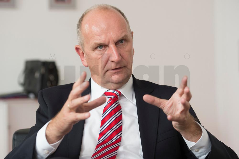 25 AUG 2014, POTSDAM/GERMANY:<br /> Dietmar Woidke, SPD, Ministerpraesident Brandenburg, waehrend einem Interview, Potsdamer Landtag<br /> IMAGE: 20140825-01-011