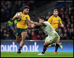 November 18, 2017 - London, London, United Kingdom - Image ©Licensed to i-Images Picture Agency. 18/11/2017. London, United Kingdom. England v Australia- Autumn Internationals. Australian No12 Samu Kerevi got through Englands defence  in the Autumn International match at Twickenham, London. (Credit Image: © Andrew Parsons/i-Images via ZUMA Press)