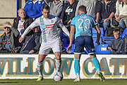 Liam Ridehalgh (Tranmere Rovers) and Danny East (Grimsby Town) during the Vanarama National League match between Tranmere Rovers and Grimsby Town FC at Prenton Park, Birkenhead, England on 30 April 2016. Photo by Mark P Doherty.