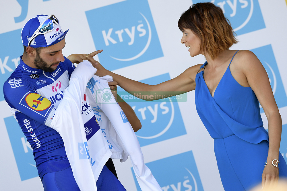 July 8, 2018 - La Roche-Sur-Yon, FRANCE - Colombian Fernando Gaviria of Quick-Step Floors pictured on the podium wearing the white jersey for the best young rider after the second stage of the 105th edition of the Tour de France cycling race, 182,5km from Mouilleron-Saint-Germain to La Roche-sur-Yon, France, Sunday 08 July 2018. This year's Tour de France takes place from July 7th to July 29th. BELGA PHOTO YORICK JANSENS (Credit Image: © Yorick Jansens/Belga via ZUMA Press)