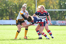 Tina Veale of Wasps Ladies is tackled by Cat McNaney of Bristol Ladies  - Mandatory by-line: Craig Thomas/JMP - 28/10/2017 - RUGBY - Cleve RFC - Bristol, England - Bristol Ladies v Wasps Ladies - Tyrrells Premier 15s