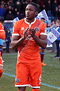 Shrewsbury Town defender Omar Beckles (6) applauds, claps the fans before the EFL Sky Bet League 1 match between Scunthorpe United and Shrewsbury Town at Glanford Park, Scunthorpe, England on 17 March 2018. Picture by Mick Atkins.