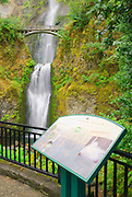 Multnomah Falls and sign, Columbia River Gorge National Scenic Area, Oregon