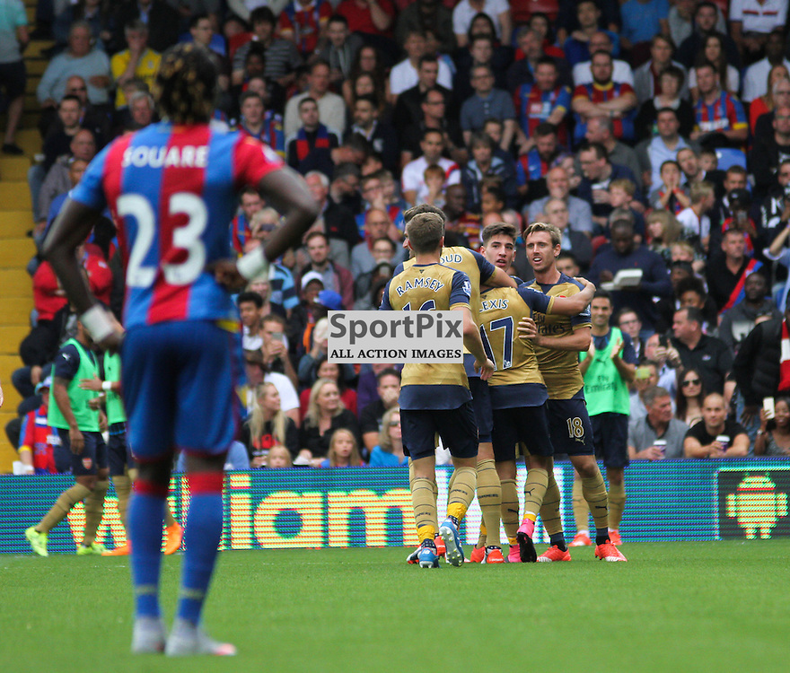 The Arsenal team celebrate During Crystal Palace vs Arsenal on Sunday the 16th August 2015.