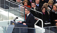 "Poet Richard Blanco recites his poem ""One Today"" at the swearing in ceremony for President Barack Obama at the US Capitol on January 21, 2013.  Photo by Dennis Brack"