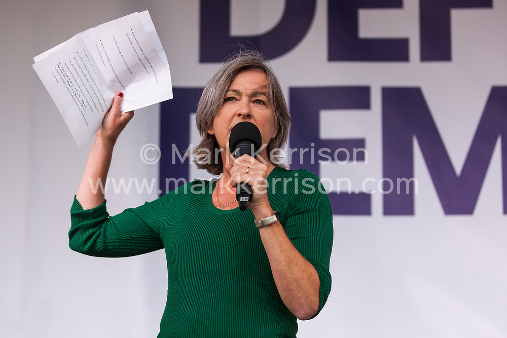 London, UK. 4 September, 2019. Liz Saville Roberts, Plaid Cymru MP for Dwyfor Meirionnydd, addresses Remain supporters at a Defend Our Democracy rally in Parliament Square shortly after MPs passed the Brexit delay bill in the House of Commons.