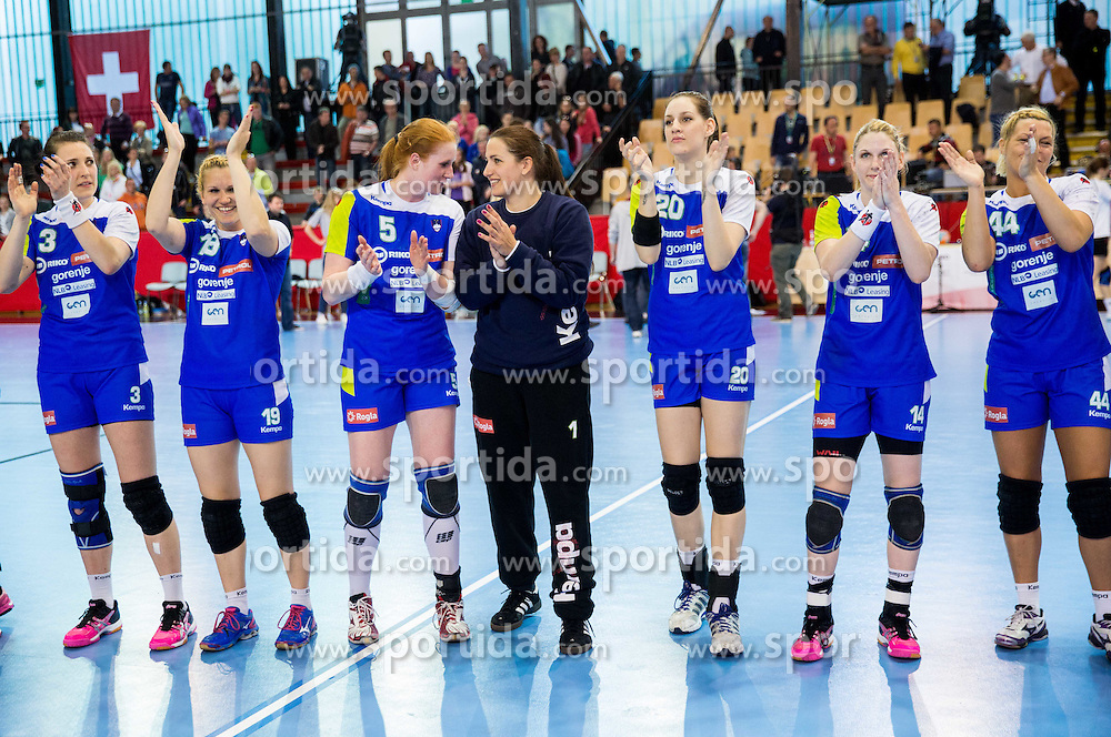 Players of Slovenia celebrates after winning during handball game between Women National Teams of Slovenia and Switzerland in 2014 Women's European Championship Qualification, on March 30, 2014 in Arena Kodeljevo, Ljubljana, Slovenia. Photo by Vid Ponikvar / Sportida