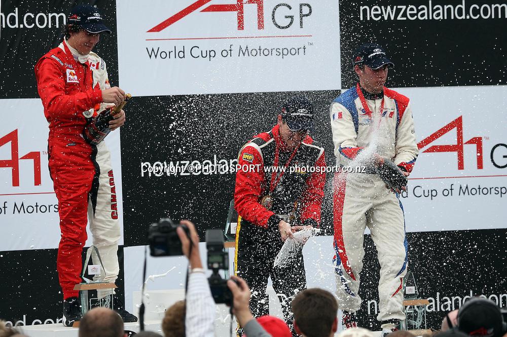 Christian Vietoris of Germany sprays the crowd with champagne. A1 GP feature race, Taupo, New Zealand, Sunday 20 January 2008. Photo: Andrew Cornaga/PHOTOSPORT