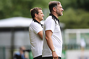 Forest Green Rovers assistant manager, Scott Lindsey & manager Mark Cooper during the Pre-Season Friendly match between Forest Green Rovers and Birmingham City at the New Lawn, Forest Green, United Kingdom on 16 July 2016. Photo by Shane Healey.