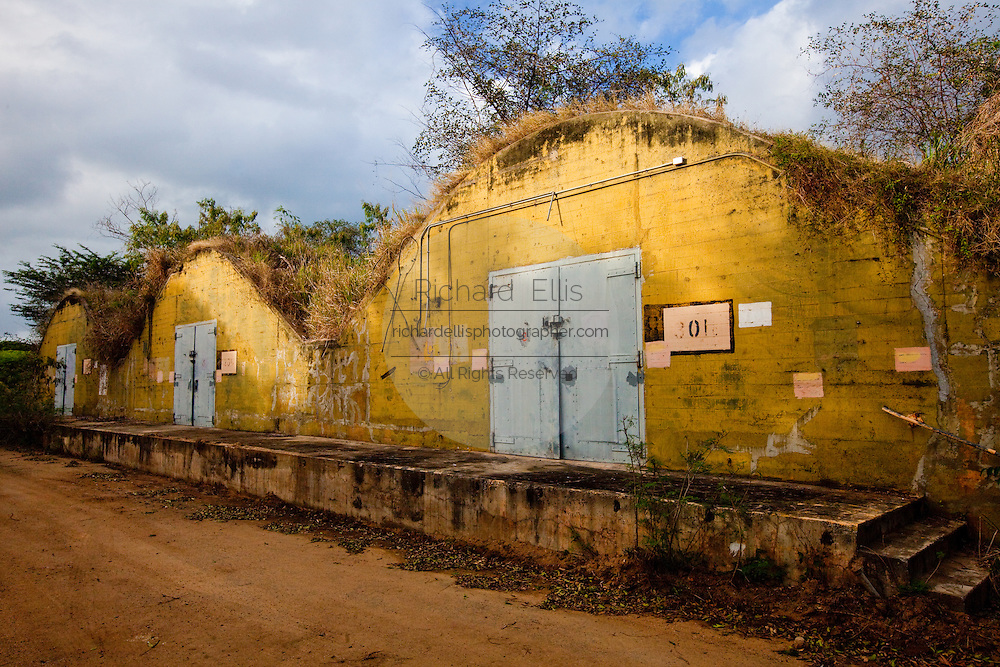 Old military ammunition bunkers in the abandoned base on Vieques, Puerto Rico